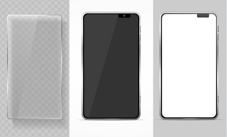 Realistic Detailed 3d Mobile Phone and Glass Template Mockup Set. Vector
