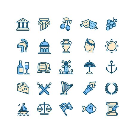 Greece Color Thin Line Icon Set. Vector  イラスト・ベクター素材