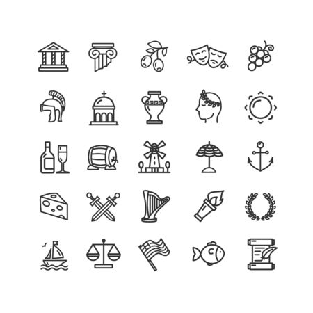 Greece Black Thin Line Icon Set. Vector