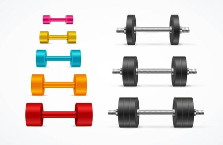 Realistic Detailed 3d Different Color Gym Equipment Dumbbell Set. Vector