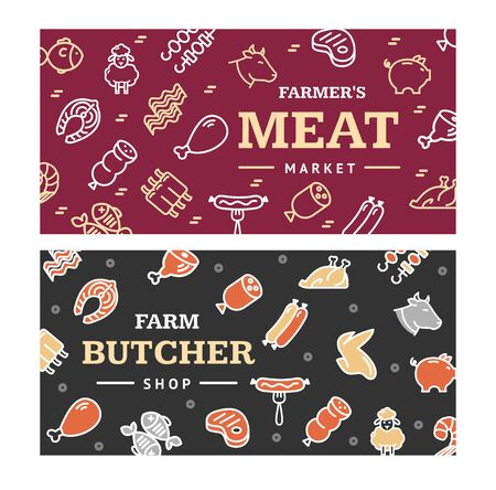 Meat Butchery Banner Horizontal Set. Vector