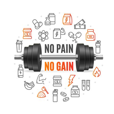 No Pain No Gain Concept with Black Dumbbell. Vector