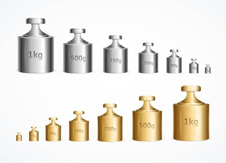 Realistic Detailed 3d Calibration Weight Laboratory Set. Vector
