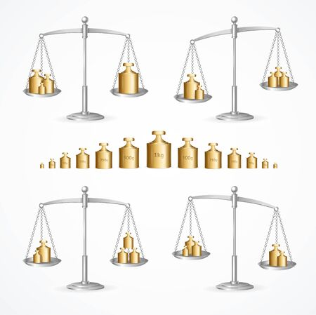 Realistic Detailed 3d Calibration Weight Laboratory and Scales Set. Vector