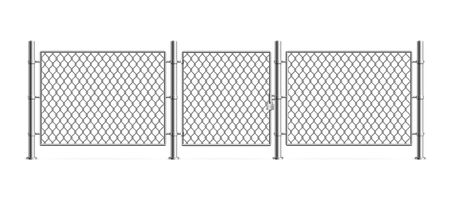 Realistic Detailed 3d Metal Fence Wire Mesh. Vector 일러스트