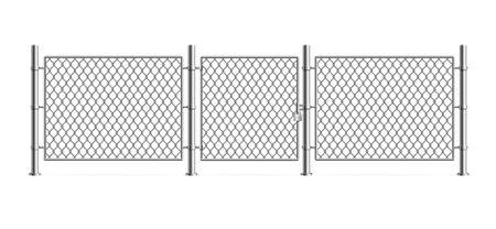 Treillis métallique de clôture métallique 3d détaillé réaliste. Vecteur
