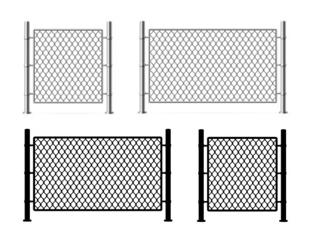Realistic Detailed 3d and Silhouette Black Metal Fence Wire Mesh Set. Vector illustration of Frame Private Concept  イラスト・ベクター素材