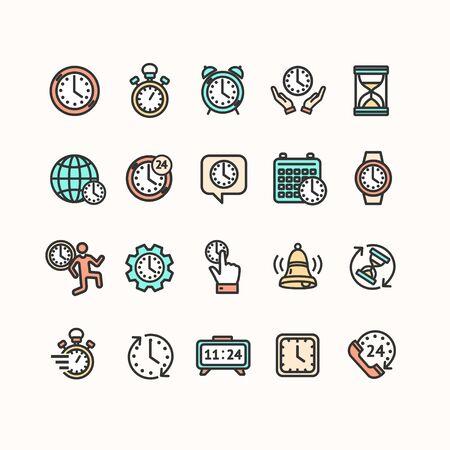 Clock Signs Color Thin Line Icon Set. Vector
