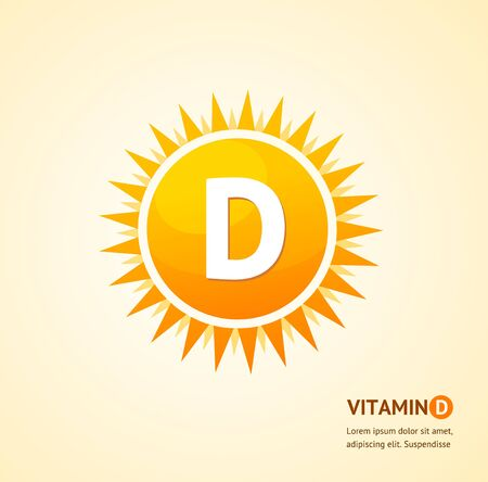Vitamin D Sun Label Card Background Concept. Vector