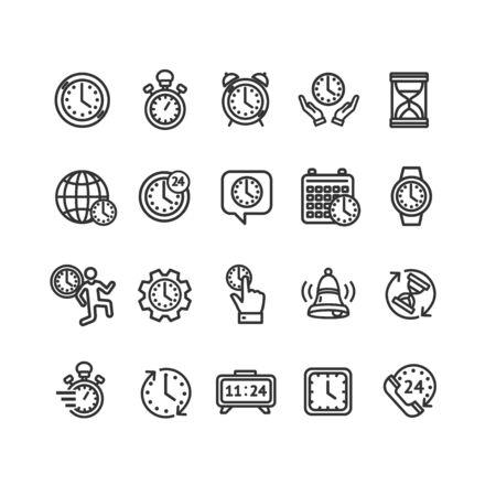 Clock Signs Black Thin Line Icon Set. Vector