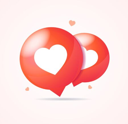 Realistic 3d Detailed Red Bubble with Heart Shape Like Set. Vector Иллюстрация