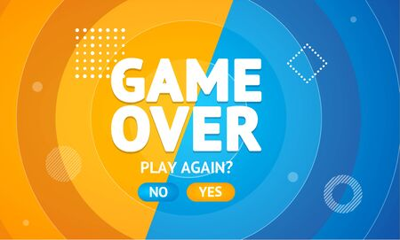Game Over or Play Again Concept Banner Card. Vector