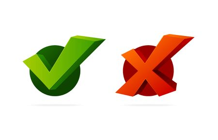 Realistic 3d Detailed Check Mark Yes and No Set. Vector Ilustracja
