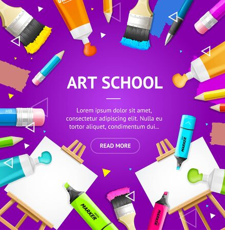 Art School Concept Banner Card with Realistic 3d Detailed Elements. Vector Çizim