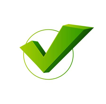 Realistic 3d Detailed Check Mark Yes or Confirmation Green Sign. Vector