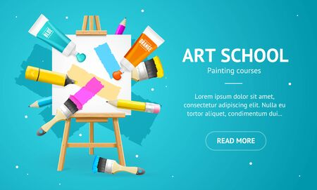 Art School Concept Banner Horizontal with Realistic Detailed 3d Elements. Vector