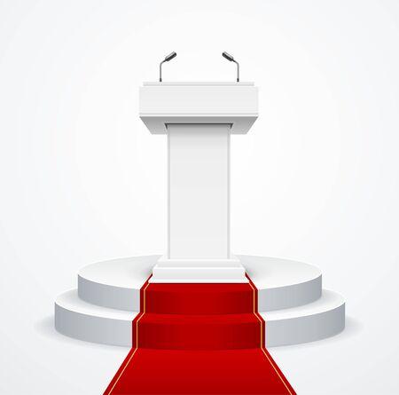 Realistische detaillierte 3D White Blank Podium Tribune Debate oder Stage Stand und Red Carpet Symbol der Feier. Vektor-Illustration