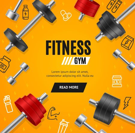 Fitness Gym Concept Banner Card with Realistic 3d Detailed Elements. Vector Illustration
