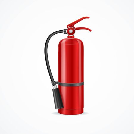 Realistic Detailed 3d Red Fire Extinguisher. Vector Vector Illustration