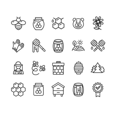Honey Sign Black Thin Line Icon Set. Vector