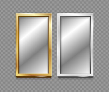 Realistic 3d Detailed Mirror with Silver and Golden Frame Set. Vector