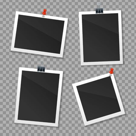 Realistic Detailed 3d Photo Frame Set Different Type on a Transparent Background. Vector illustration of Photography Imagens - 134903132