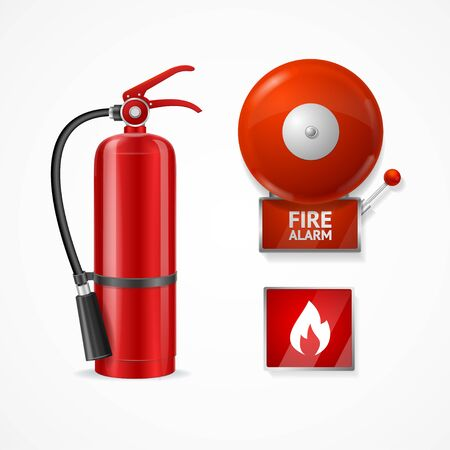 Realistic Detailed 3d Fire Alarm Set Include of Extinguisher, Siren or Bell and Warning Sign. Vector illustration