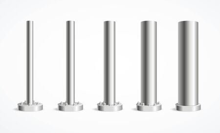 Realistic Detailed 3d Metal Pole Pillars Set. Vector