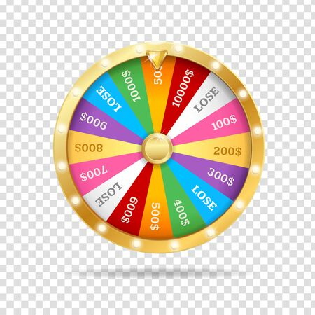 Realistic 3d Detailed Casino Fortune Wheel on a Transparent Background. Vector