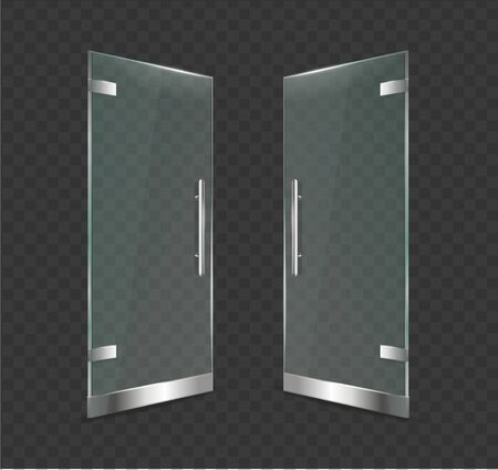 Realistic 3d Detailed Glass Door Open on a Transparent Background. Vector