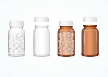 Realistic 3d Detailed Glass Medical Bottle Set. Vector 矢量图片