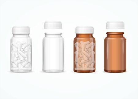 Realistyczne 3d szczegółowe szklane butelki medyczne zestaw. Wektor Ilustracje wektorowe