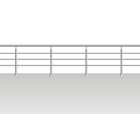 Realistic Detailed 3d Metal Modern Balcony or Terrace. Vector