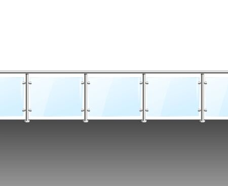 Realistic Detailed 3d Glass Barrier Modern Balcony or Terrace. Vector