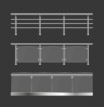 Realistic Detailed 3d Glass Balustrade with Metal Handrails Set. Vector