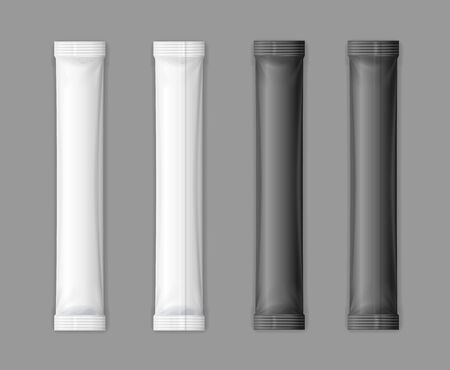 Realistic Detailed 3d Black and White Matte Sachet Stick Set Empty Template Mockup on a Transparent Background. Vector illustration