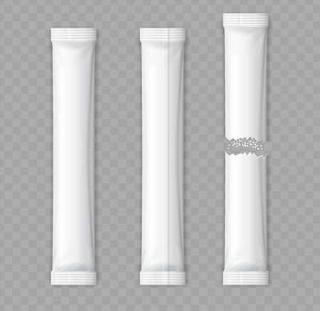 Realistic Detailed 3d Matte Sachet Stick Set Empty Template Mockup on a Transparent Background . Vector illustration of Whole New and Torn in Half Pack
