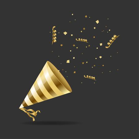 Realistic Detailed 3d Gold Hat Party and Golden Confetti, Streamer on a Black Background Celebration Concept. Vector illustration Illusztráció