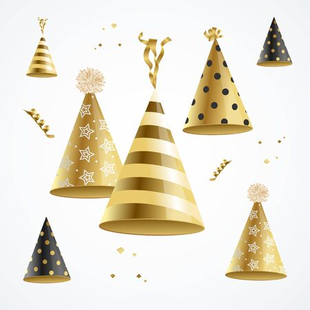 Realistic Detailed 3d Gold Hat Party Holiday Concept Template for Celebration Banner or Birthday Greeting Card. Vector illustration