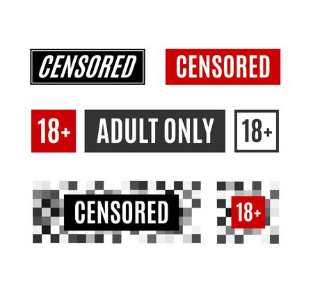 Pixel Censored Sign Different Types Set Under 18 and Adult Only Warning Symbols. Vector illustration of Censored Concept