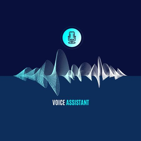 Voice Assistant which Thin Line Sound Wave. Vector