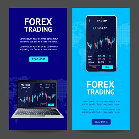 Forex Trading Banner Vertical Set with Realistic Detailed 3d Mobile Phone and Laptop. Vector