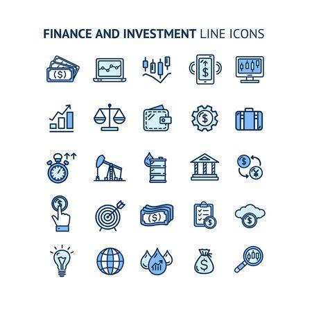 Finance Investment Sign Color Thin Line Icon Set. Vector Illusztráció