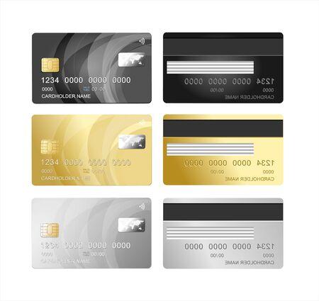 Set di carte di credito in plastica 3d dettagliate realistiche per il concetto di finanza di acquisto di pagamento. Illustrazione vettoriale di carte Vettoriali