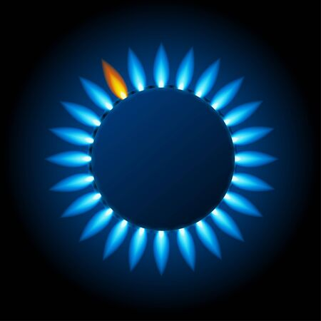 Realistic Detailed 3d Natural Gas Flame Kitchen with Blue Reflections Top View on a Dark. Vector illustration