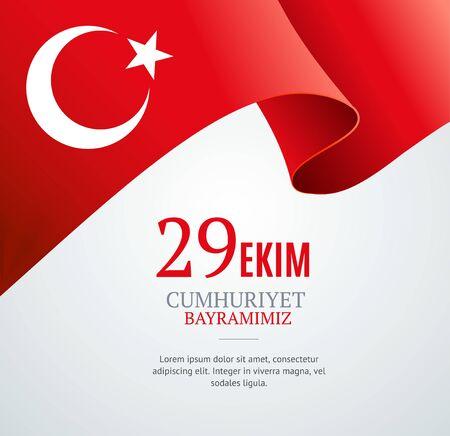 Realistic 3d Detailed Turkey Flag Banner Background for Web and App Design. Vector illustration of Travel Poster Illusztráció