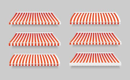 Realistic 3d Detailed Striped Awning Set Outdoor Tent for Cafe and Shop. Vector illustration of Awnings