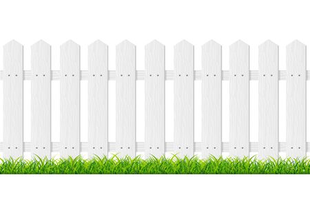Realistic Detailed 3d White Wood Fence with Green Grass. Vector
