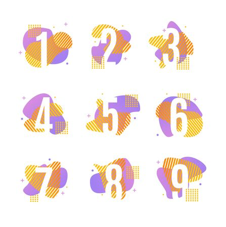 Numbers with Geometric Shapes Blot and Abstract Memphis Style Element Set. Vector illustration of Number Design