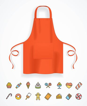 Realistic Detailed 3d Red Apron and Thin Line Icon Concept of Kitchen. Vector illustration of Bakery Icons Vetores